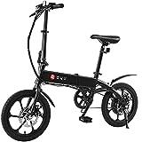 DYU A1F Bicicleta Eléctrica Plegable - 16' Bicicletas Eléctricas Portátiles para Mujer, Velocidad máxima 25KM/H Motor 250W Batería 5.2Ah Viaje 25-40KM EBike con Pantalla LCD