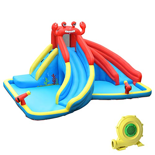 HONEY JOY Inflatable Water Slides, Kids Jumping Bounce House w/2 Long Slides, Climbing Wall & Large Splash Pool, 2 Water Cannons & Hose, Crab Themed Outdoor Inflatable Water Park (with 950w Blower)