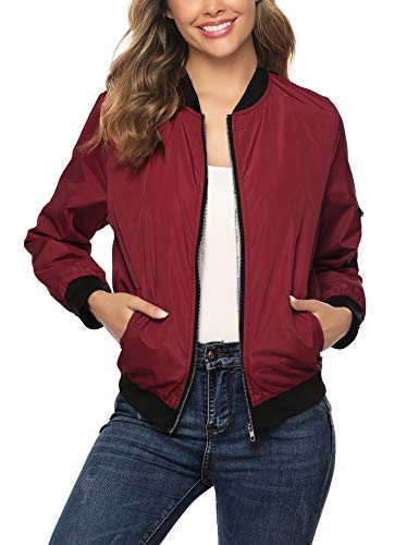 Aibrou Chaqueta Bomber Mujer,Cazadora Moto Jacket Mujer,Casual Uniforme Beisbol con Cremallera,Jacket Bomber Style