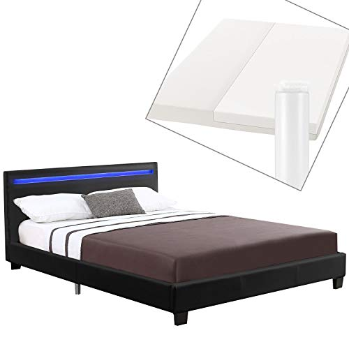 ArtLife Polsterbett Verona 120 × 200 cm - Bett komplett mit LED-Beleuchtung, Matratze und Lattenrost - Kunstleder Bezug - schwarz – Jugendbett