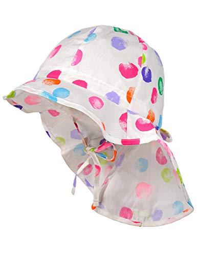 maximo Baby-Mädchen Nackenschutz Mütze, Mehrfarbig (Weiß-Multicolor-Punkte 1), (Herstellergröße: 49)