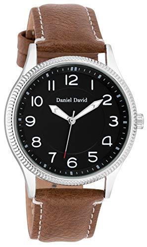 Daniel David Uomo | Orologio da Polso Classico con Cinturino Marrone in Pelle PU e Grande Cassa Argente di 39mm | DD18201