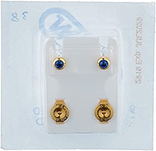 Caflon Earrings with Colored Stone for Baby Girls - Gold and Blue