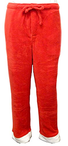 Santa Claus Plush Fleece Pants with Free Hat - wear as Santa or Sleep Pants -m Red