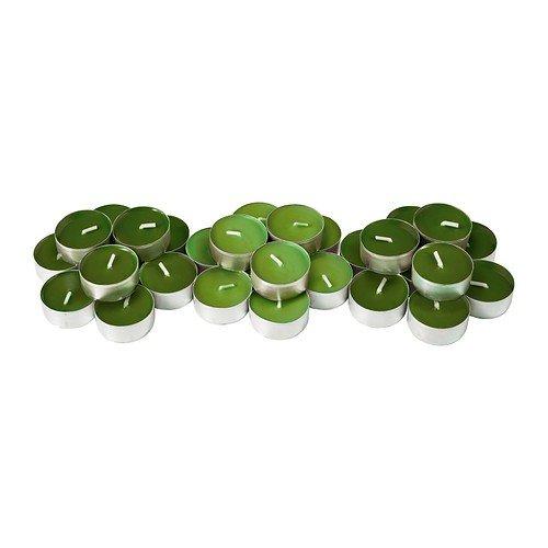 IKEA Teelichter SINNLIG 30 Stück duftend 7 Farben und Duftnoten (grün - Apfel)