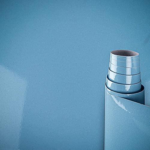 AWNIC Vinilo Papel Adhesivo para Muebles Azul Perla/Elegante/Muebles Pegatinas Impermeable a Prueba de Aceite para el Forro de los Muebles/Armario Mesa Baño Cocina Decoración 300x40cm