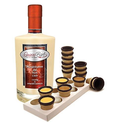 Mandelsahne auf Rum Likör 0,5L mit 8 knusprigen Schoko- Waffelbechern & Becherhalter 18% Vol.
