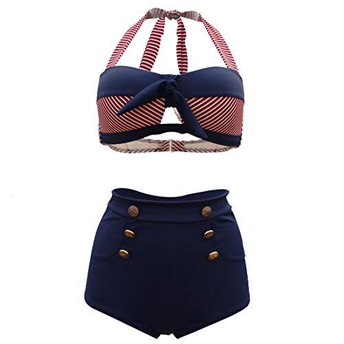 CosPrincely Mujer Bikini Conjunto Cintura Alta Vintage Push Up Baño Traje Floral Impresión Beachwear