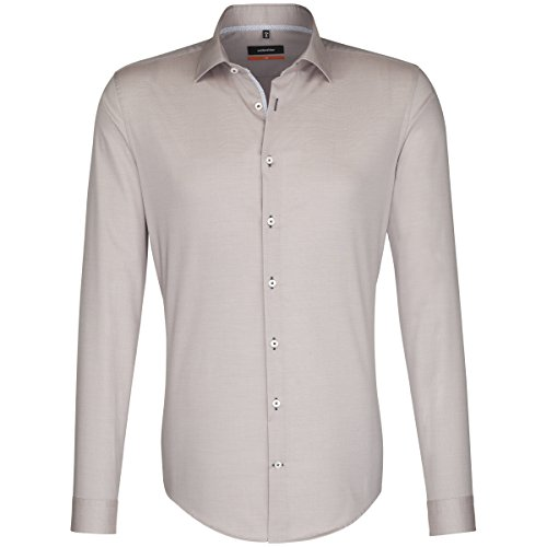 Seidensticker Herren Slim bügelfrei Stretch Businesshemd, Beige (Beige 23), 37 cm