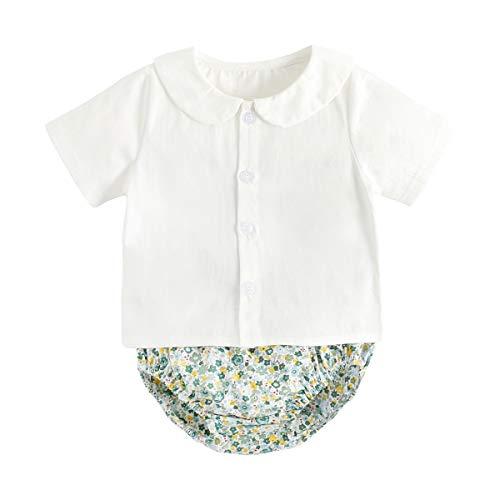 UMore Body Bebé Blanco Algodón para Bebé Body Mono de Manga Corta Mameluco Algodón Recién Nacido Pijama Bebés Juegos de Regalo 0-24 meses