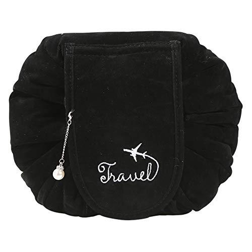 Neue verbesserte Kordelzug-Make-up-Tasche, ONEGenug Velvet Cosmetic Bag, einstufiger Kulturbeutel-Organizer, Kosmetiktasche für Faule Damen (Schwarz)