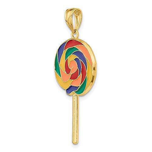 14k Yellow Gold Large 3-D Lollipop with Multi-Color Enamel Pendant