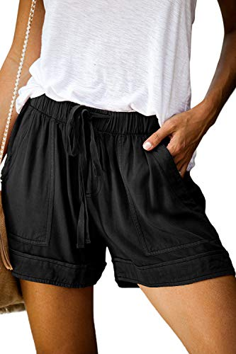 CILKOO Women Drawstring Elastic Waist Casual Comfy Solid Linen Shorts with PocketsPlusSize Black US16-18 X-Large