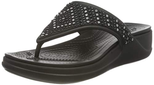 Crocs Monterey Shimmer Wedge Flip, Sandalias con cua Mujer