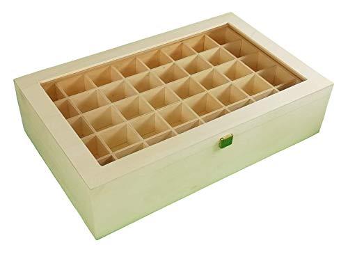 Greca Caja Colecciones. con Doble Piso. En Madera de chopo. Interior con departamentos para Colecciones (2 bandejas). En Crudo. Medidas: 45 * 28 * 11 cms.