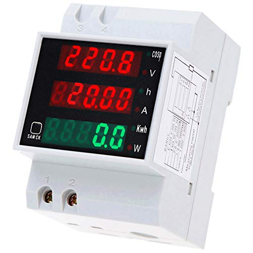 KKnoon Amperometro Digitale AC80-300V 100A Contatore energia elettrica Digital Din Rail Tensione di corrente Fattore di potenza Meter Amperometro Voltmetro