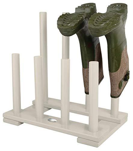 Esschert Design Stiefelhalter, Schuhablage aus Holz in weiß, ca. 42 cm x 26 cm x 42 cm