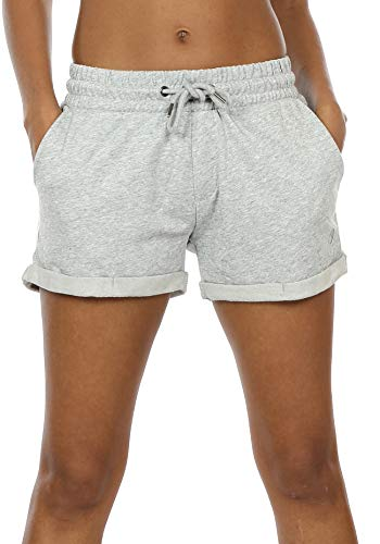 icyzone Workout Lounge Shorts for Women - Athletic Running Jogging Cotton Sweat Shorts (M, Light Gray)