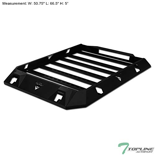 Topline Autopart Black AR-M Modular Steel Roof Rack Cargo Basket Luggage Carrier For 07-18 Jeep Wrangler 4 Door JK