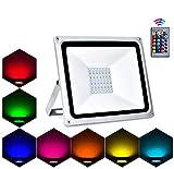 Lacyie Foco RGB Led,50W 5000LM Foco Colores con Control Remoto,16 Colores 4 Modos 8 Brillo IP66 Iluminación De Seguridad Para Exteriores Foco, ara Jardín,bodas,Fiestas decoraciones