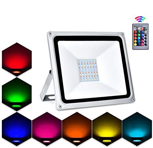 Projecteur LED Extérieur RGB,Lacyie 50W 5000LM Spot LED de Couleur avec Télécommande,16 Couleurs,4 Modes et 8 Luminosité IP65 Étanche Éclairage de Sécurité pour Jardin,Fête,Cour,Terrasse,Garage