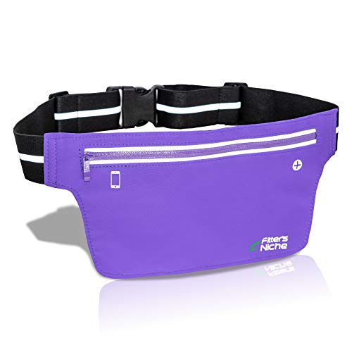 Fitter's niche Ultra Slim Fanny Waist Pack, Water Resistant Fashion Running Bag, Reflective Adjustable Elastic Belt, Holds Phones up to 6.7inch, Men Women Indoor Outdoor Sports Workouts Gym Exercises