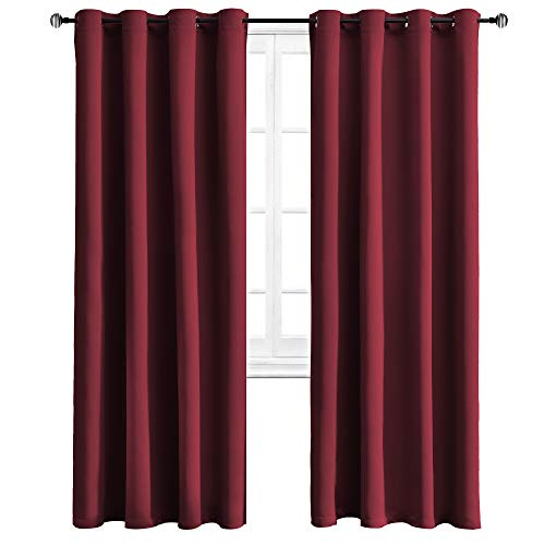 WONTEX Blackout Curtains Thermal Insulated Grommet Curtain for Bedroom/Living Room, 52 x 95 inch, Burgundy, 2 Panels