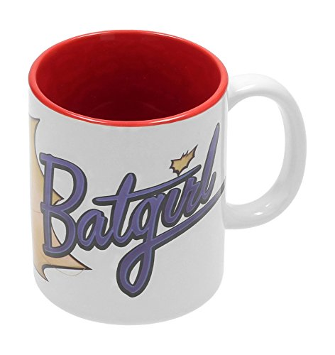 SD Toys Becher mit Batgirl Baseball Motiv, Keramik, Weiß und Rot, 10x 14x 12cm