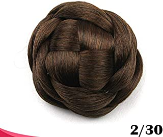 Large Size Scrunchie Synthetic Hair Chignon Bun Donut Straight Updo Braided Hairpieces Clip in Hair Bun Wedding Extensions for Afro Black Women (#2/30 black brown/Auburn Brown)