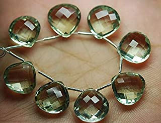 Jewel Beads Natural Beautiful jewellery 2 Match Pair, Super Rare AAA Green Amethyst Faceted Heart Shape Briolettes Calibrated Size 14mmCode:- JBB-38665