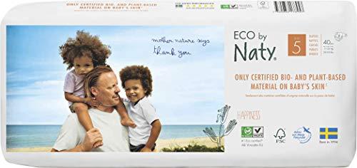 Eco by Naty, Talla 5, 80 pañales, 11-25kg, Pañal ecológico premium hecho a base de fibras vegetales. 0% plásticos derivados del petróleo en contacto con la piel.