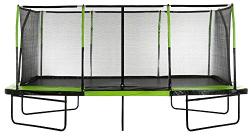 Upper Bounce - 10 x 17 FT. Large Rectangle Trampoline with Fiber Flex Enclosure System, Net, Mat, Spring Cover Pad for Garden & Outdoor - Easy Assemble
