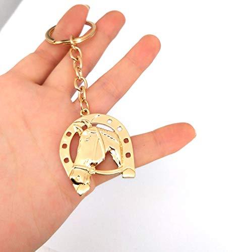 YCEOT Goldfarben Schlüsselanhänger Pferdekopf Hufeisen Huf Anhänger Hohl Schlüsselanhänger Modeschmuck Geschenk Schlüsselanhänger