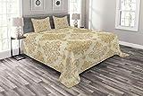 ABAKUHAUS Elfenbein Tagesdecke Set, Barock Curved Blumen, Set mit Kissenbezügen Romantischer Stil, für Doppelbetten 220 x 220 cm, Creme Hellbraun