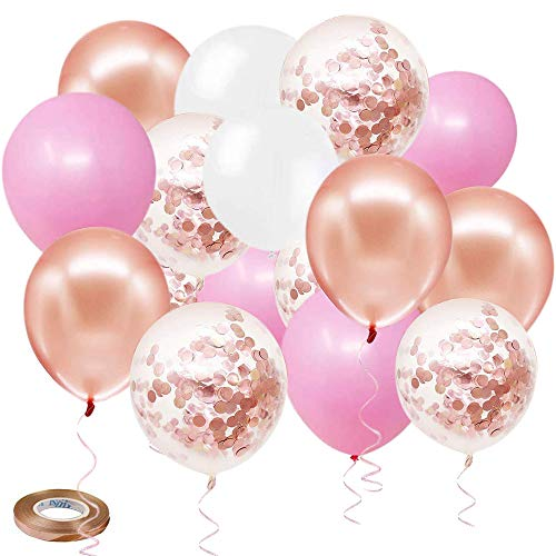 Zesliwy Rose Gold Pink Confetti Balloons 50 Pack 12 inch White Latex Balloons with 33 Feet Rose Gold Ribbon for Birthday Party Wedding Graduation Bridal Shower Decorations
