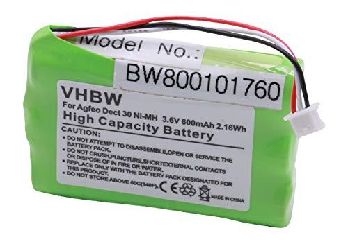 vhbw Akku passend für Agfeo, Auerswald Comfort, Elmeg, Tiptel Dect schnurlos Festnetz Telefon (600mAh, 3.6V, NiMH)