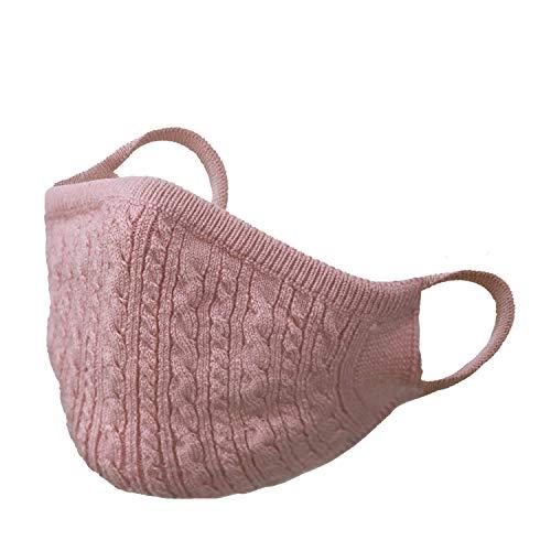 grow knit オシャレニットマスク 綿シルク ケーブル柄 洗える 日本製 (ピンク, フリー)