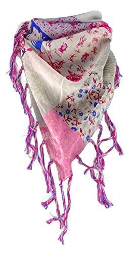 TigerTie Dreieckstuch in rosa magenta blau grau gemustert mit Fransen an zwei Seiten