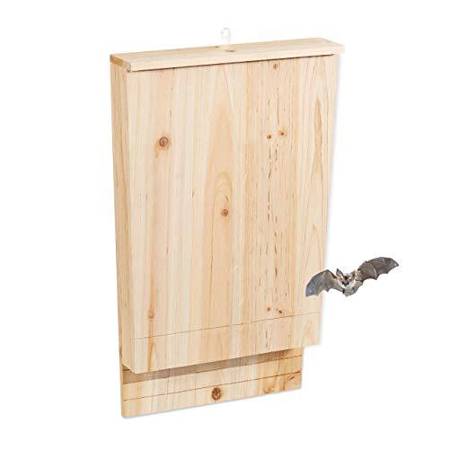 Relaxdays, Naturale Casetta XL per Pipistrelli, Nido Grande, Bat Box, Legno Non Trattato, HLP 55x35x7,5 cm