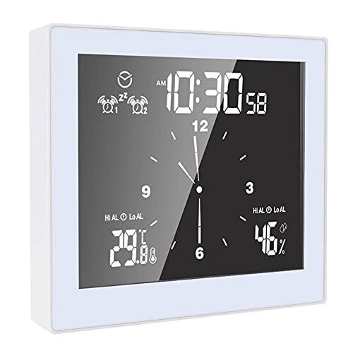 LAANCOO Temperatura Multifuncional de Temperatura del baño, y Reloj de Alarma de Humedad Pantalla LCD Abrefe Temporizador automatización