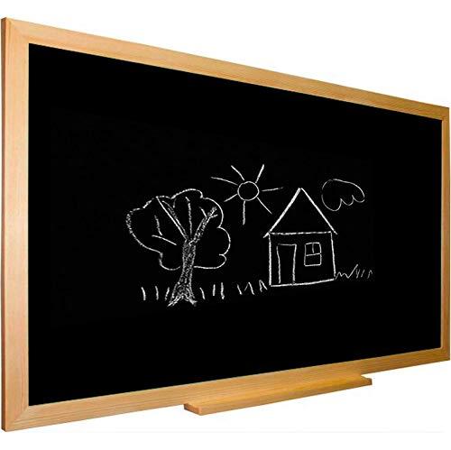 Pizarra negra tiza con marco madera natural de pino incluye bandeja repisa. 88 x 64 cm. Ideal para la decoración infantil en habitación de niños, hogar, casa, cocinas, oficinas