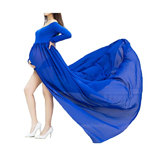xuanranUK Schwangere Frauen Fotografie Stützen, Schwanger Kleid Maternity Gown Split Front Foto Shoot Kleid, Mutterschaft Fotografie Kleidung Schwangerschafts Maxikleid Schwangerschafts Kleid (Blau)