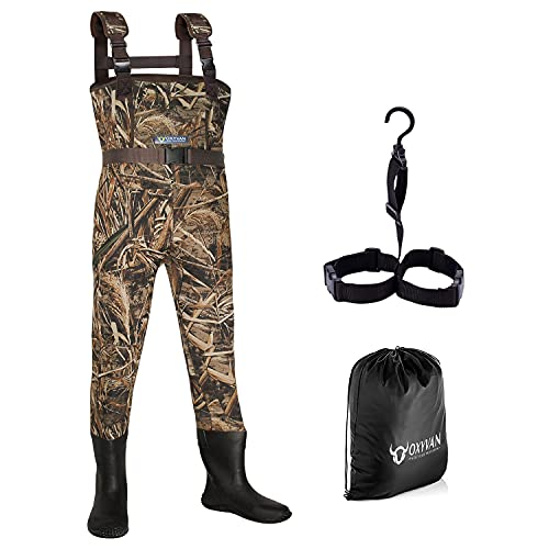 OXYVAN Kids Fishing Waders with Boots Neoprene Chest Duck Hunting Waders for Kids Waterproof Insulated MAX5 Camo Youth Waders