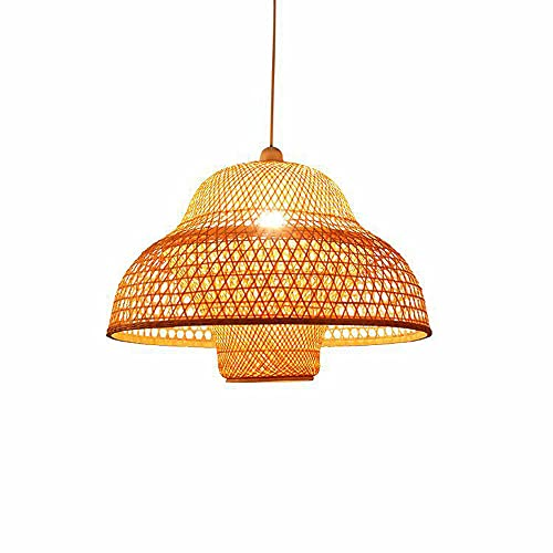 KAIKEA Candelabro de 19.7 pulgadas Luz tejida de bambú creativa Lámparas de mimbre ambiental Lámpara Pasillo Balcón Café Lámpara colgante Restaurante Lámpara E27 Portalámparas Linterna de bambú Cabeza