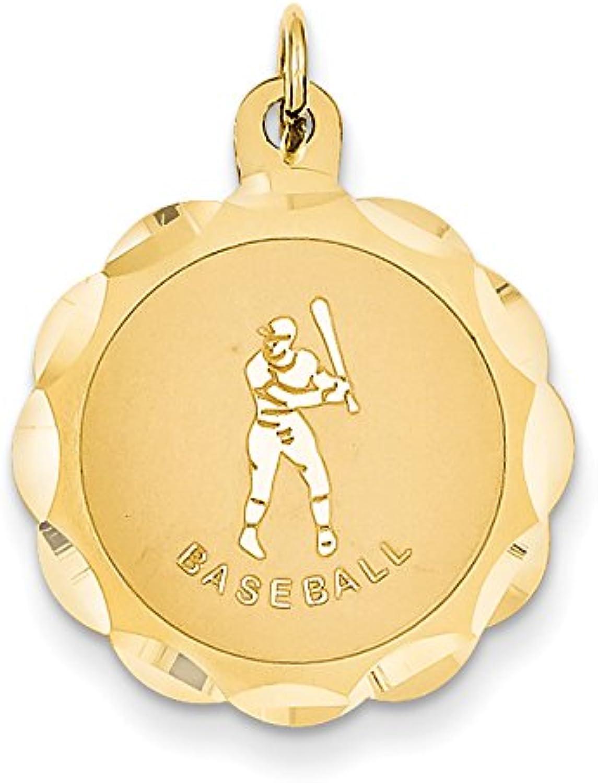 Diamond2Deal 14k Yellow gold Baseball Disc Pendant