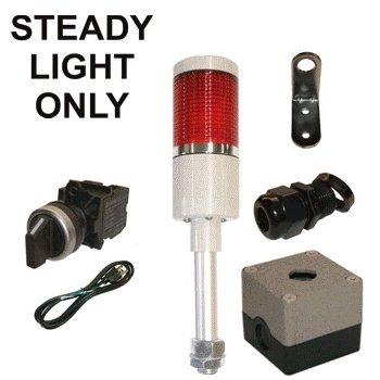 LED Tower Light Station Kit, LED Andon Light Kit KT-5211-100, LED Stacklight Kit, 120V, Red, Off/Steady