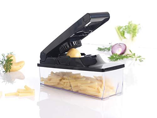 Mastrad F21600 Coupe Légumes avec Réservoir-3 Grilles-Peigne de Nettoyage-Facile D'Utilisation – Confort & Sécurité – Coloris Noir
