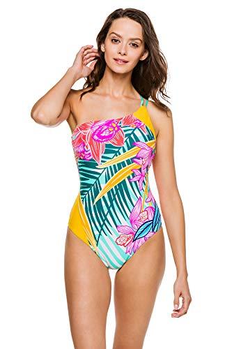 Trina Turk Women's Plus Size Shoulder One Piece Swimsuit, Multi//Terra Nostra, 20W