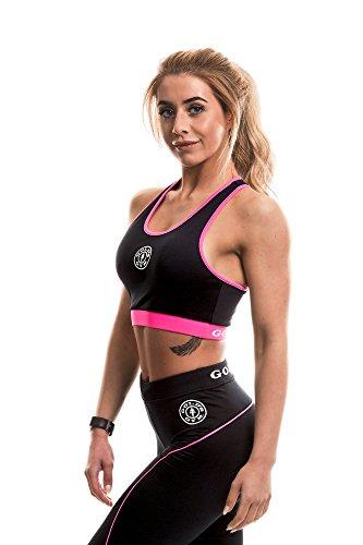 Gold's Gym Damen Ladies Sports Crop Top with Mesh Lining Sporttop, Schwarz (Black/Hot Pink Black/Hot Pink), S