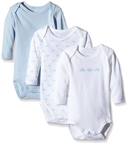 NAME IT NAME IT Baby-Jungen NITBODY LS NB B NOOS Body, Mehrfarbig (Cashmere Blue), 50 (3er Pack)